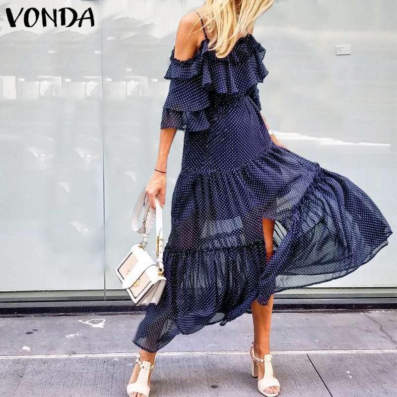 Beach Dress Women Sexy Sleeveless Strap Dot Printed Dress Bohemian Sundress VONDA 2020 Summer Casual Party Vestidos Plus Size