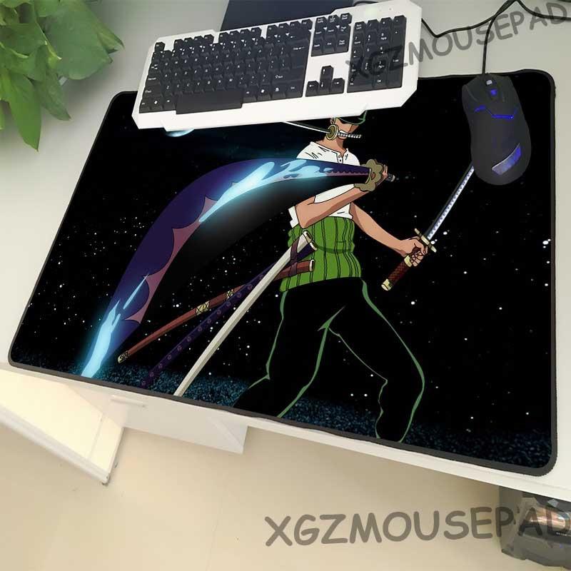 XGZ Cartoon Large Size Mouse Pad Black Lock Side One Piece Zoro Laptop PC Table Pad Swordsman Rubber Non-slip Universal Type