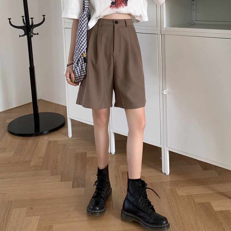 Fifth Suit Shorts Women's Summer 2020 New High Waist Straight 5-Point Pants Casual Loose Wide-Legged