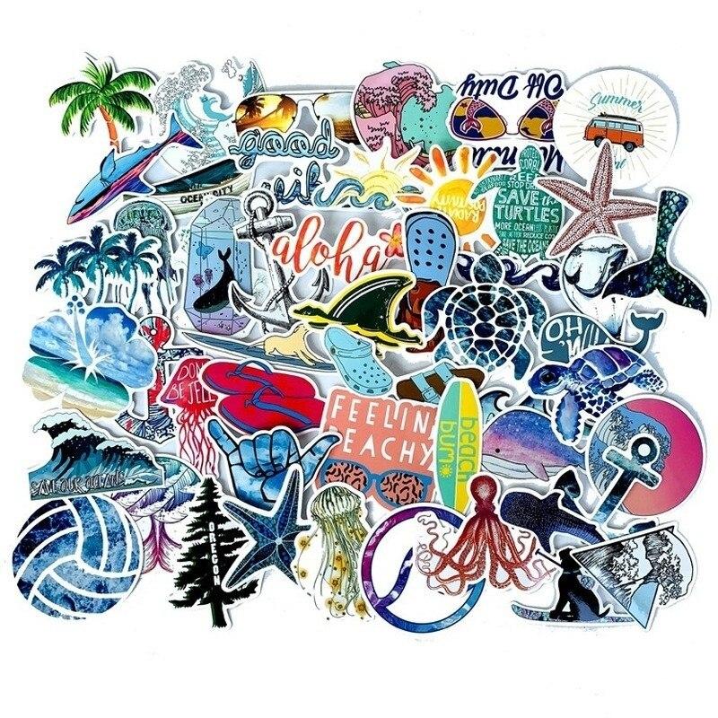 10/30/50 шт., Мультяшные летние солнцезащитные чемоданы для серфинга на пляже, чемоданы с граффити, водонепроницаемые наклейки, декоративные иг...