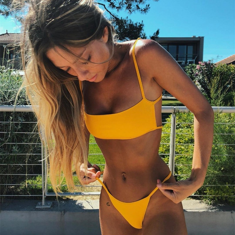 Sexy Thong Women Bikini Suit European and American Swimwear Solid Color Sexy Bikini Striped Split Swimsuit missomo women thong simple and sexy hollow solid color base strap design matching thong ladies