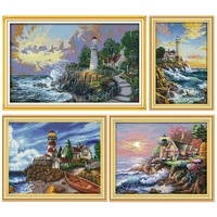 the seaside lighthouse pattern counted cross stitch 11ct 14ct cross stitch kit embroidery needlework hot sale room decor gift