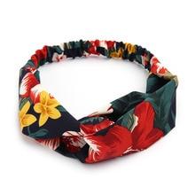 2020 Women Soft Headbands Retro Printed Ladies Cross Knot Elastic Hair Bands Turban Headwear Headwrap Scrunchie Hair Accessories