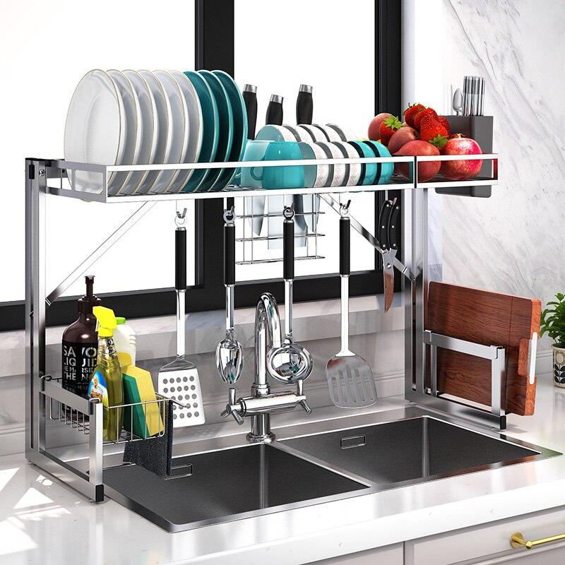 Estante de cocina de acero inoxidable sobre el fregadero, estante de drenaje de platos, estante, dispositivo de cocina, organizador para el hogar, Bol, cuchara, estante de secado