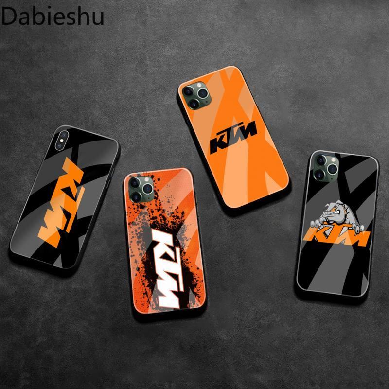 Funda de teléfono de Moto marca KTM de vidrio templado para iPhone 11 Pro XR XS MAX 8X7 6S 6 Plus SE 2020