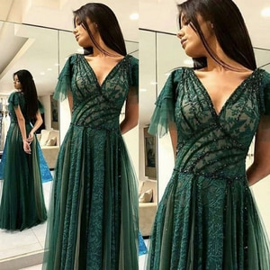 lace prom dresses 2020 v neck short sleeve lace pleats ruffle beading sequins floor length green long evening dresses gowns
