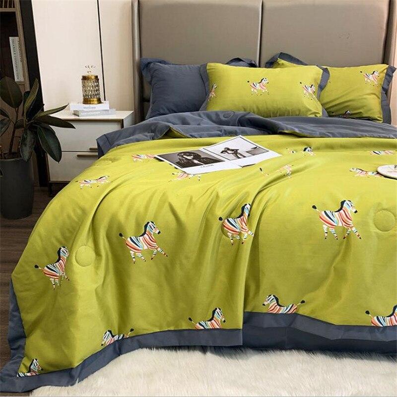 4 قطعة الحرير المطبوعة لحاف المخدة بلون غطاء سرير مكيف الهواء بذلة بولستر مبطنة كاملة الملكة حجم