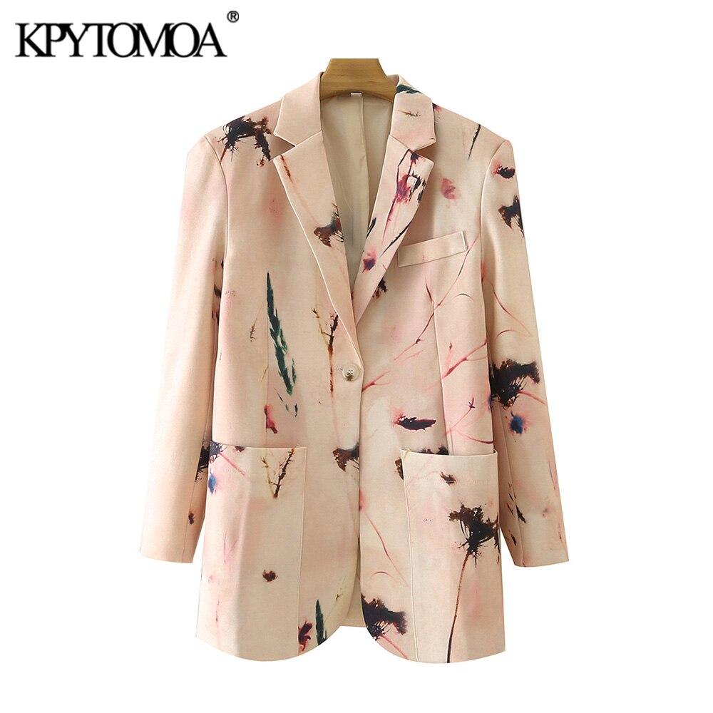موضة 2021 للنساء من KPYTOMOA معطف سترة بطباعة بزر واحد وجيوب بأكمام طويلة ملابس خارجية للنساء أنيقة Veste