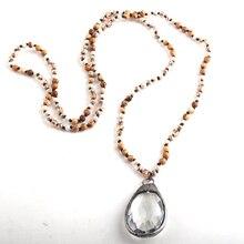 RH mode bohème Tribal bijoux 4mm Semi-précieuse pierre longue nouée verre Dorp pendentif colliers