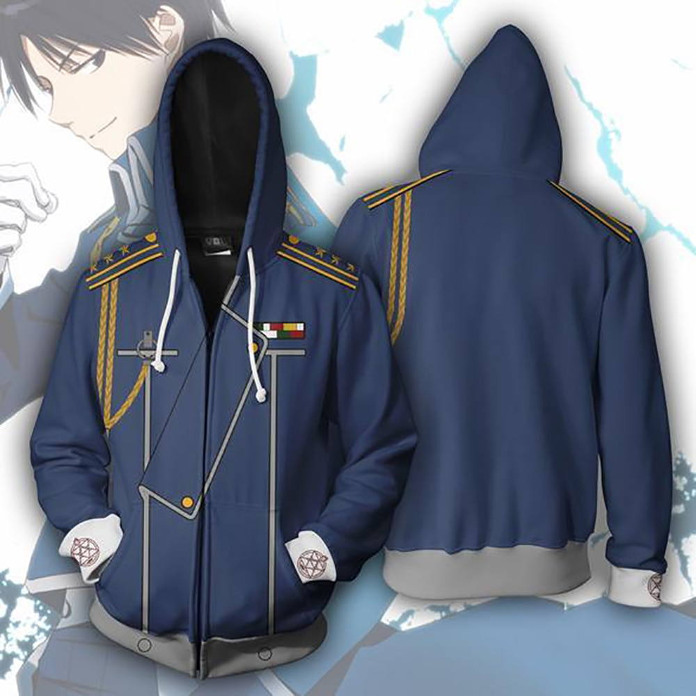 Fullmetal Alchemist Cosplay Costumes 3D Printed Hoodies Cardigan Sweater onesies for adults Anime Cartoon hooded sweater Jackets