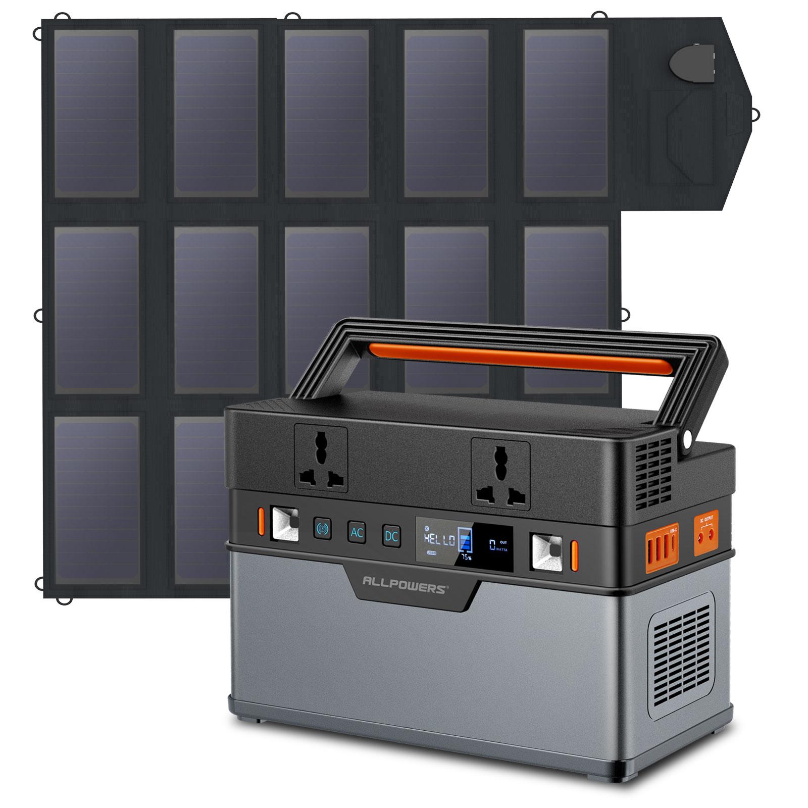 ALLPOWERS-estación de energía portátil para exteriores, generador Solar con panel Solar plegable de 18V100W, 110V/220V, 606Wh, para vacaciones, RV, Camping