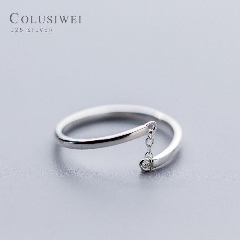 Colusiwei autêntico 925 prata esterlina simples minimalista aberto ajustável anéis de dedo para as mulheres moda banda feminina bijoux