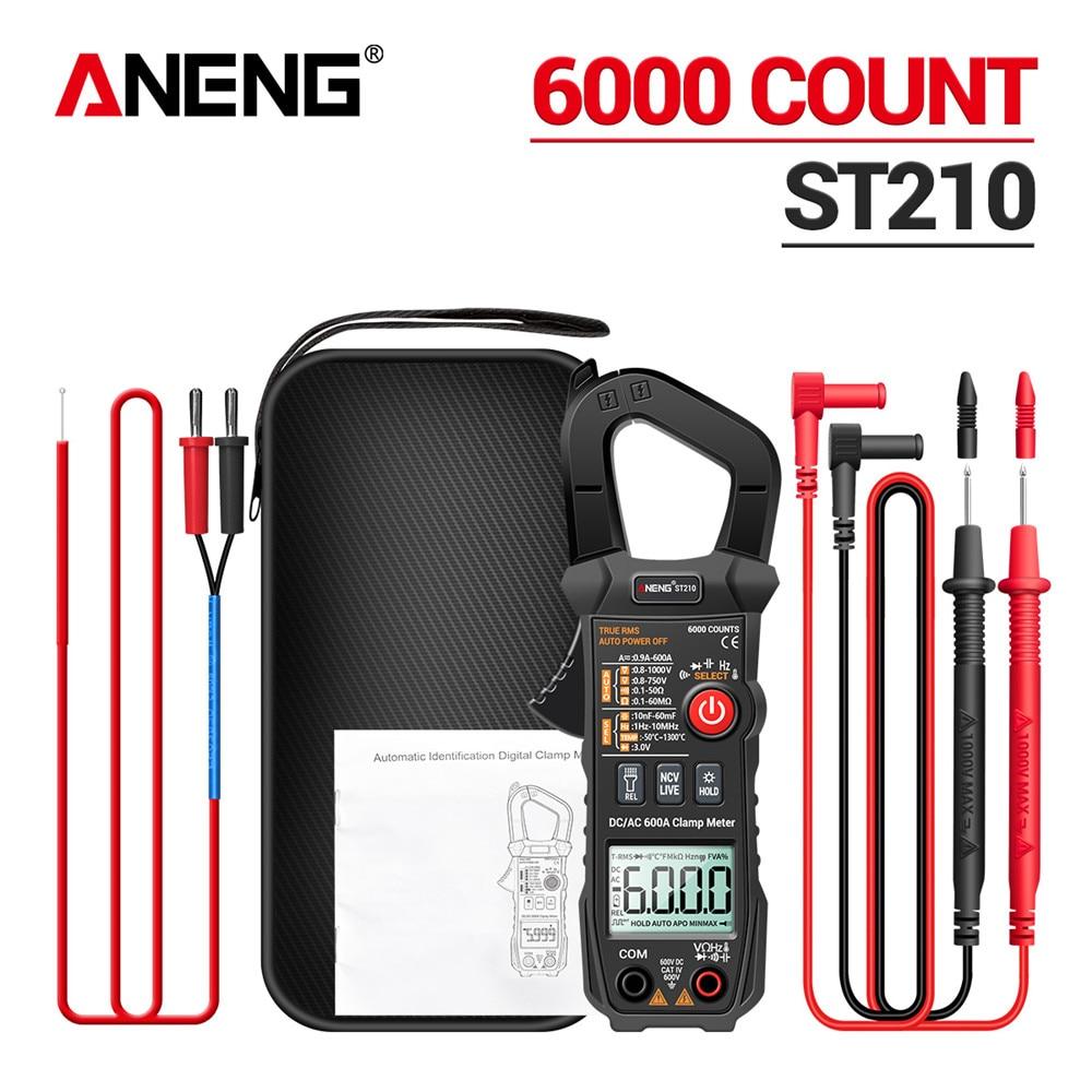 ANENG ST210-مقياس رقمي متعدد ، أداة كهربائية احترافية ، 6000 عد ، تيار مستمر/تيار متردد 600A