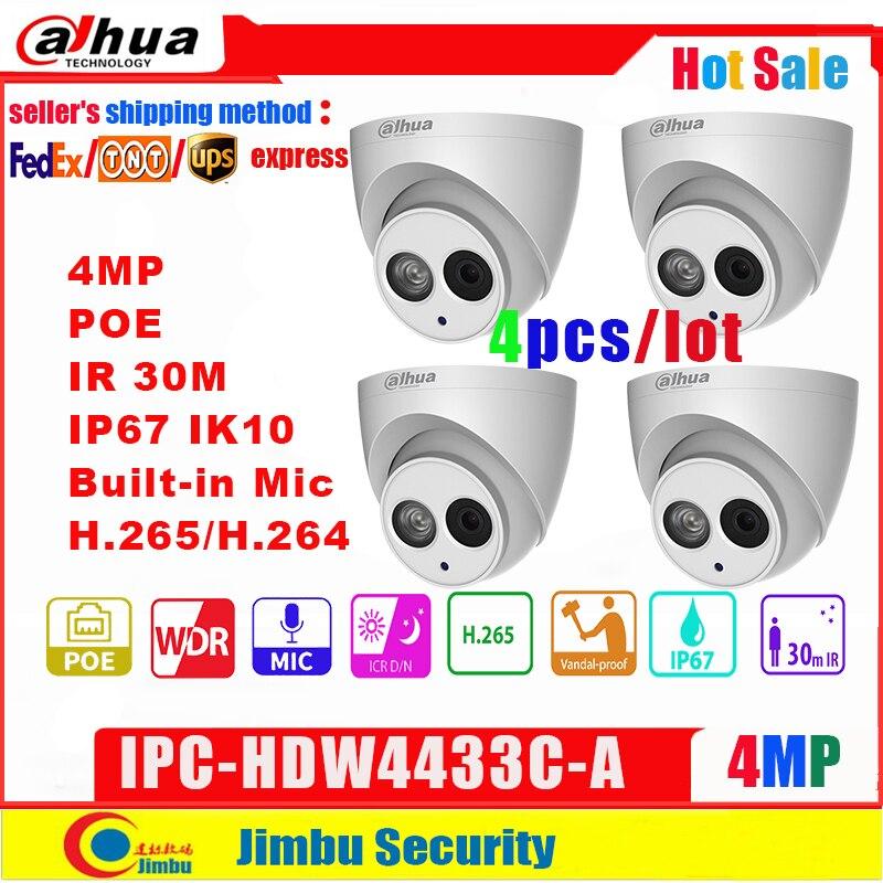 Dahua IP caméra 4MP IPC-HDW4433C-A 4 pièces/lot Starlight PoE intégré micro IR30m IP67 réseau CCTV caméra remplacer IPC-HDW4431C-A