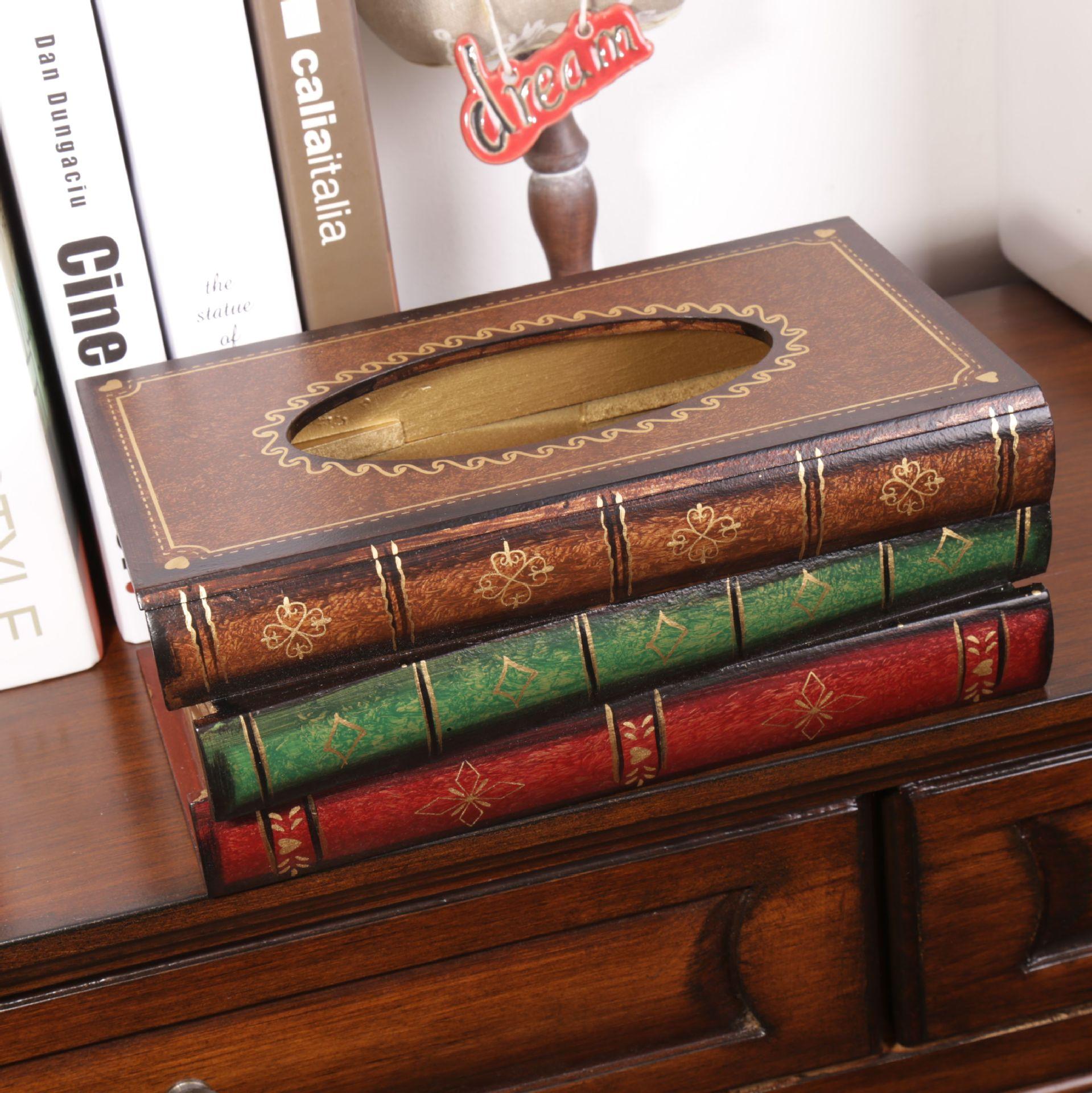 Estilo retro livro forma caixa de tecido madeira criativa quarto sala estar mesa escritório guardanapo decorativo suporte papel