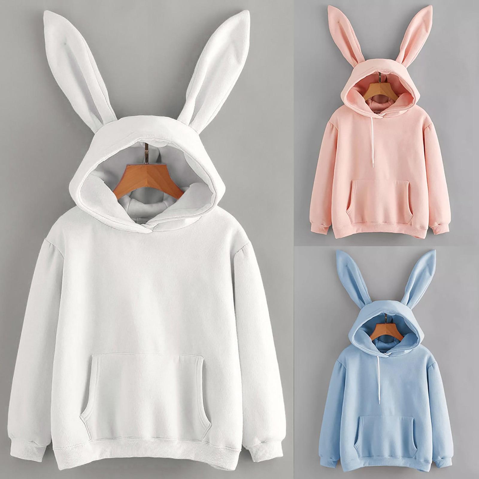 Kawaii hoodies feminino menina moletom 2021 bonito coelho orelha pulôver outono inverno casual manga longa senhoras topo sudadera mujer Agasalhos e Moletons    -