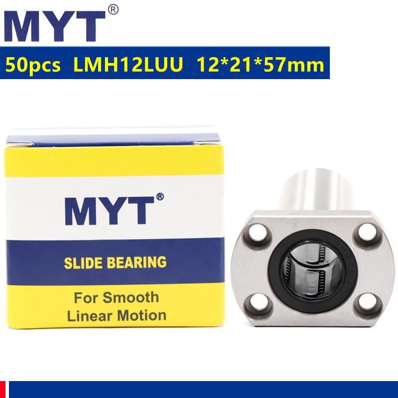 50 قطعة MYT عالية الدقة LMH12LUU 12x21x57 ملليمتر نوع طويل البيضاوي شفة الخطي الكرة تحمل ل 12 مللي متر نك راوتر ثلاثية الأبعاد أجزاء الطابعة
