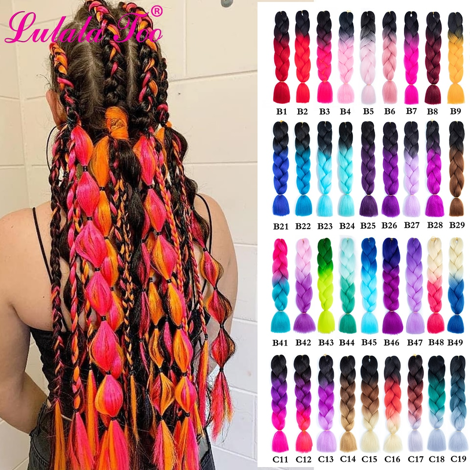 24'' 100g/Pc Synthetic Jumbo Braid Hair Extension Twist For White Women Single Ombre Color Green Pink Purple Blonde