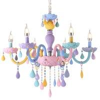 LukLoy Macaron Crystal Hanging Kids Lamp Romantic Simple Crystal Chandelier Creative Children's Room Modern Lighting Fixtures
