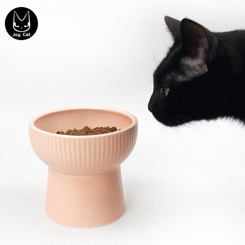 Joycat pet talheres tigela cerâmica cães e gatos universal redonda cor sólida 12cm pet pot tigela suprimentos