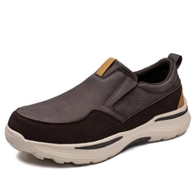 2021 New Men's Leather Casual Shoes Slip-On Clunky Sneaker For Men Fashion Thick-Soled Dad Shoes Pla