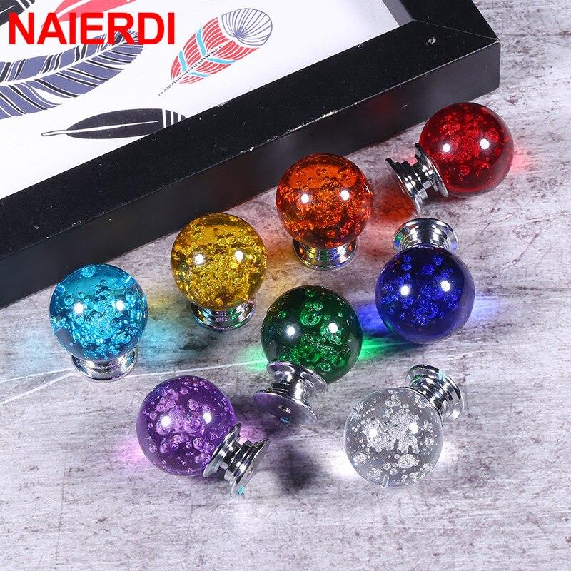 NAIERDI 30mm Crystal Bubble Ball Furniture Knob Kitchen Cupboard Door Pulls Drawer Knobs Cabinet Handles Wardrobe Door Handles