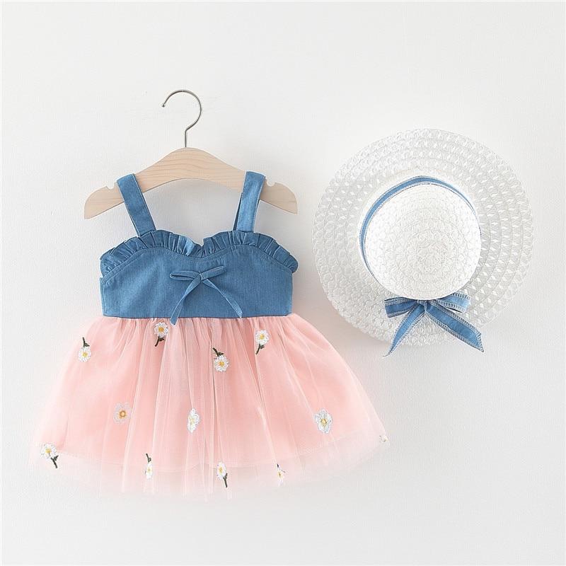 Vestido de moda para bebé niña con sombrero ropa de bebé traje verano lazo de tela vaquera vestido de tul recién nacido vestido infantil para 0-24M