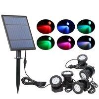 Светодиодная уличная лампа на солнечной батарее, RGB Точечный светильник, меняющий цвет, IP68 Водонепроницаемый Ландшафтный фонарь для сада на...