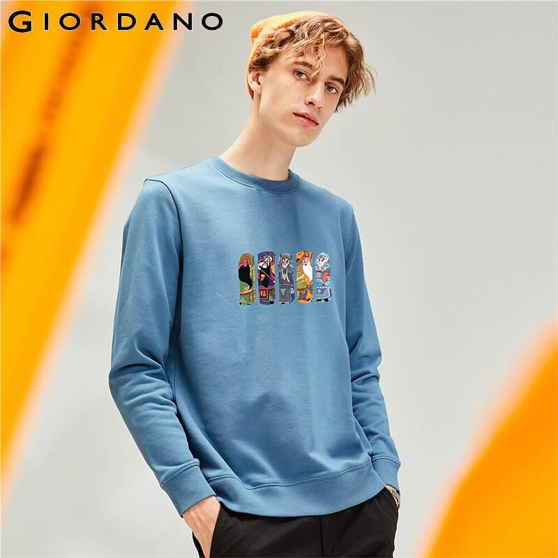 Giordano-سويت شيرت رجالي برقبة دائرية ، ملابس غير رسمية ، أكمام طويلة ، مطبوع عليه قصة Peking ، مضلع ، Moleton ، 91090026