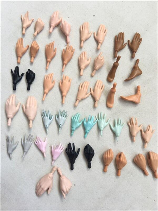 Original boneca substituição mãos feets multi-articulações yoga corpo monstros mãos masculino feminino boneca acessórios branco preto bege cor