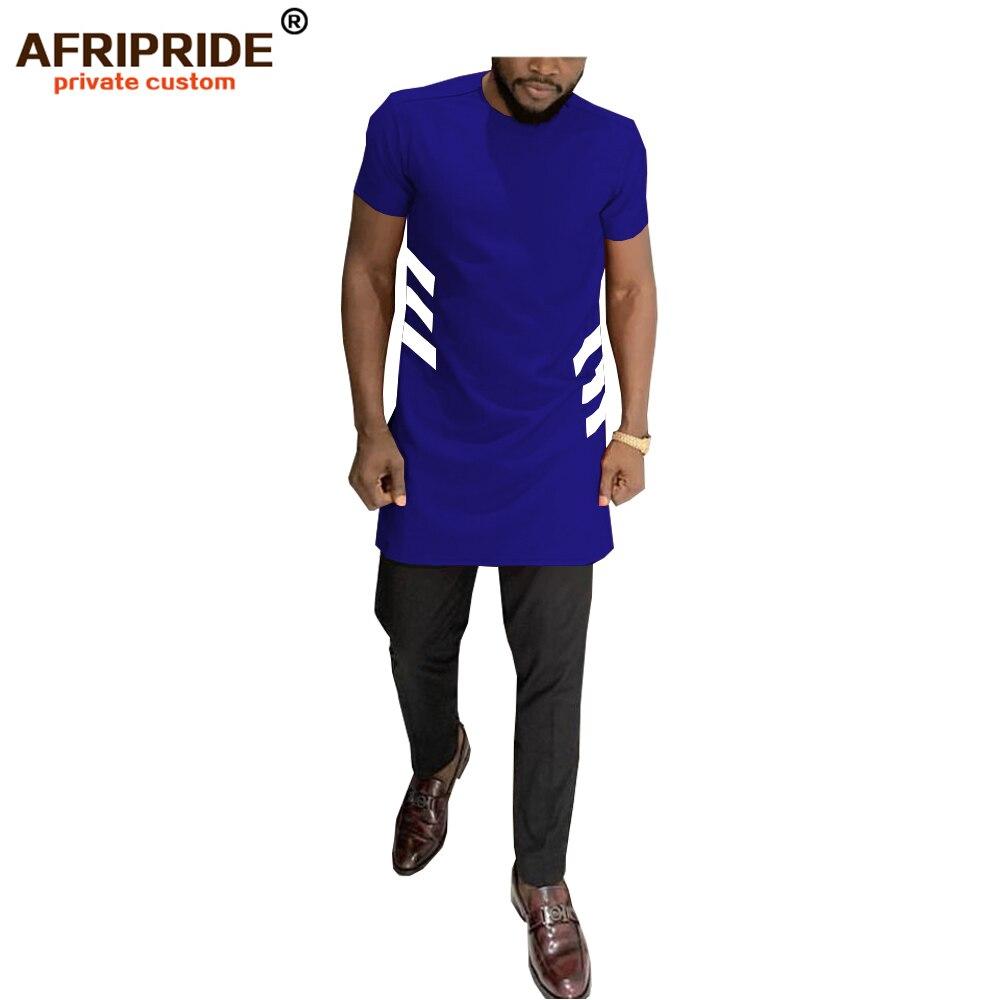 Camisa informal africana para hombre AFRIPRIDE hecha a medida, manga corta, cuello redondo, camisa con abertura lateral larga, 100% de cera africana de algodón A1912006
