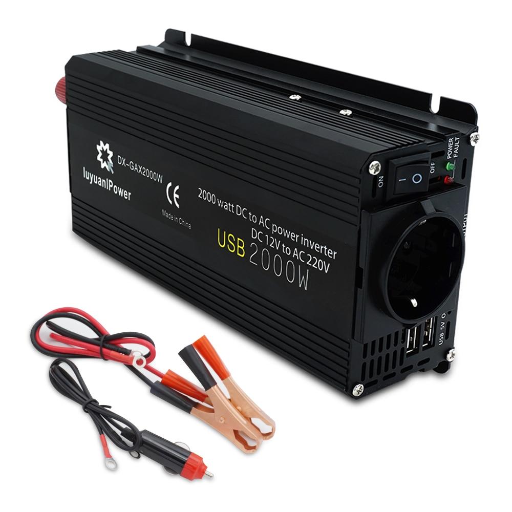 Car Inverter 12V 220V Power 500W/1500W/2000W Converter 2 USB EU Socket Webasto 12 Volts auto Inversor12v 220 v Transformer Solar