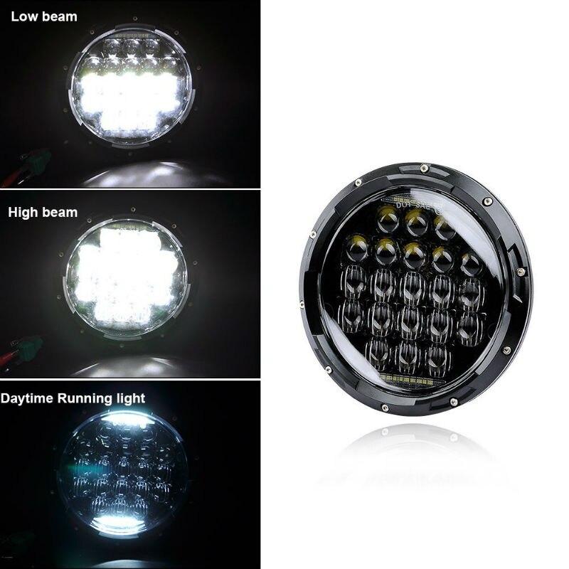 1 par de 7 pulgadas 5D 75W proyector de faro LED con DRL para Jeep Wrangler JK TJ LJ CJ Land Rover Defender