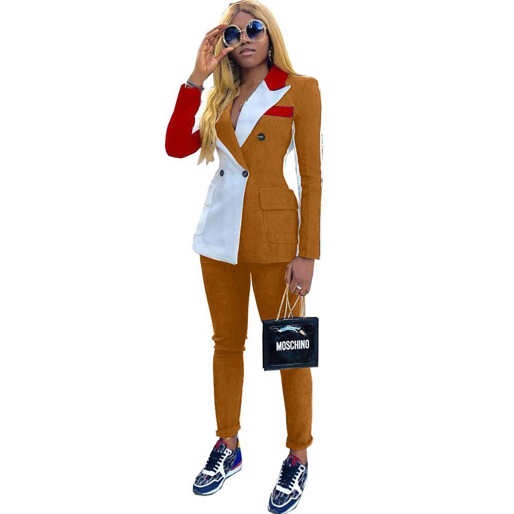 2020 nova primavera feminino agasalho entalhado manga cheia blazers calças terno duas peças casual moda outfit retalhos cor uniforme