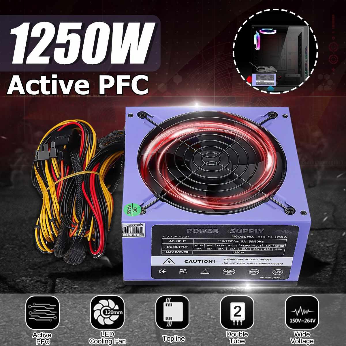 Fuente de alimentación de PC de doble tubo de 1250W 12cm ventilador LED 24 pines PCI SATA ATX AMD PFC 12V fuente de alimentación de Juegos de ordenador para PC de escritorio