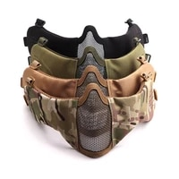 tactical airsoft masks paintball cs foldable half face low carbon steel mesh military style comfortable ear protective mask