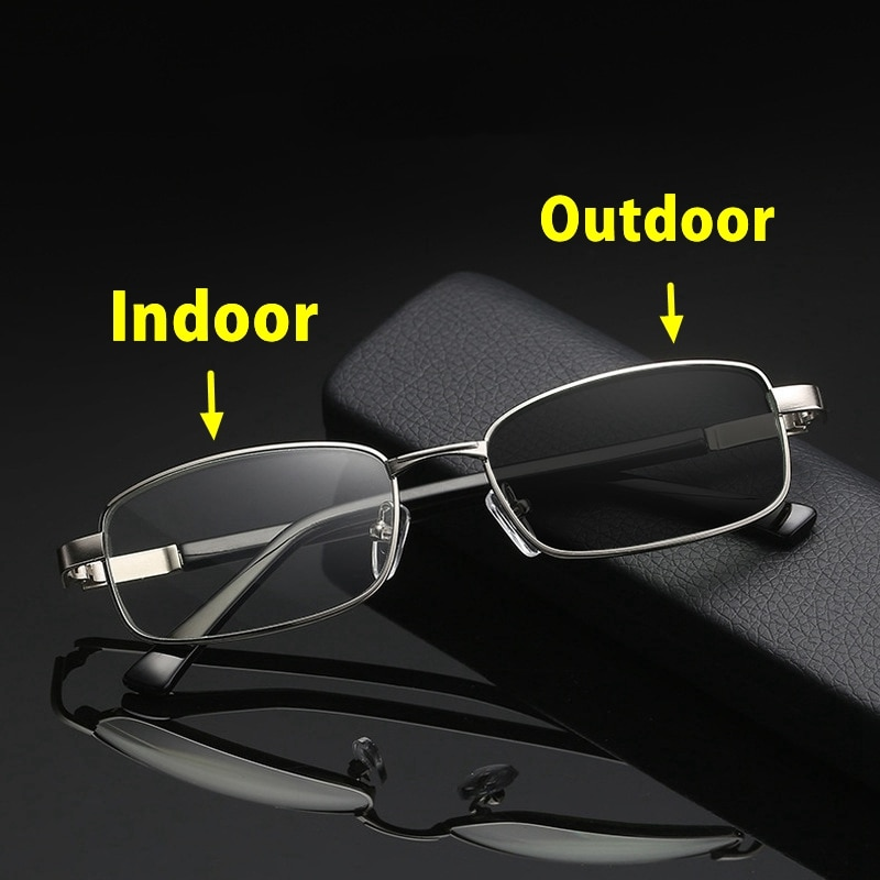 Acabamento de metal óculos de leitura photochromic masculino feminino quadro completo vintage presbiopia óculos 4.0 diopter gafas para leer holesale