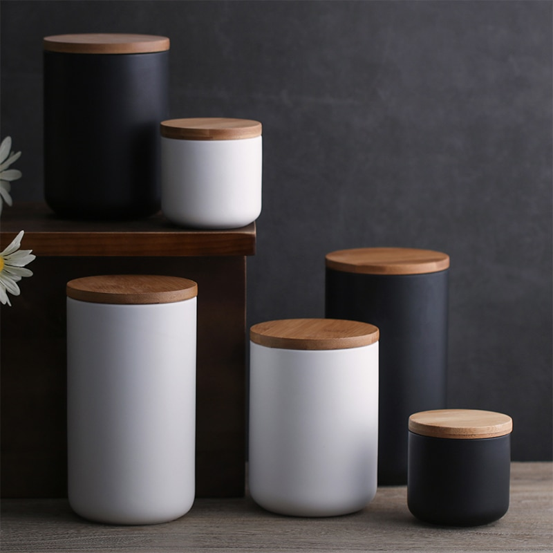 260ML / 800ML / 1000ML Gewürz Glas Versiegelt Keramik Lagerung Tank Haushalt Kaffee Tee Topf Geschirr WF9161022