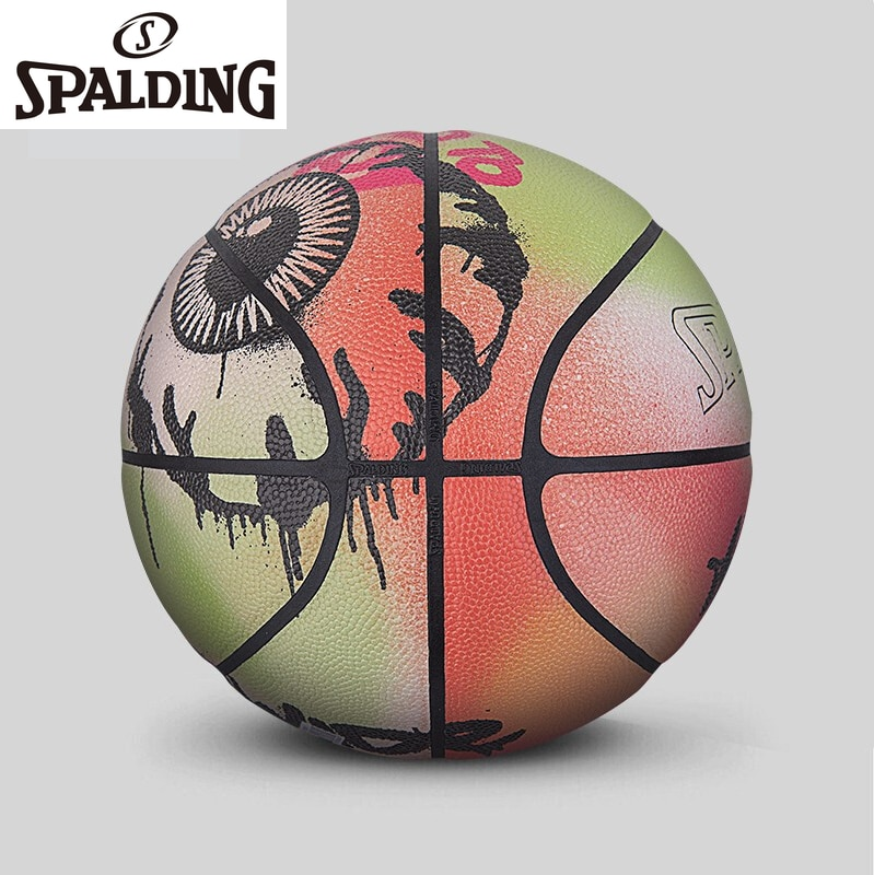 Spalding Men's Professional Training Basketball Cool Street Graffiti PU Indoor Outdoor Basketball