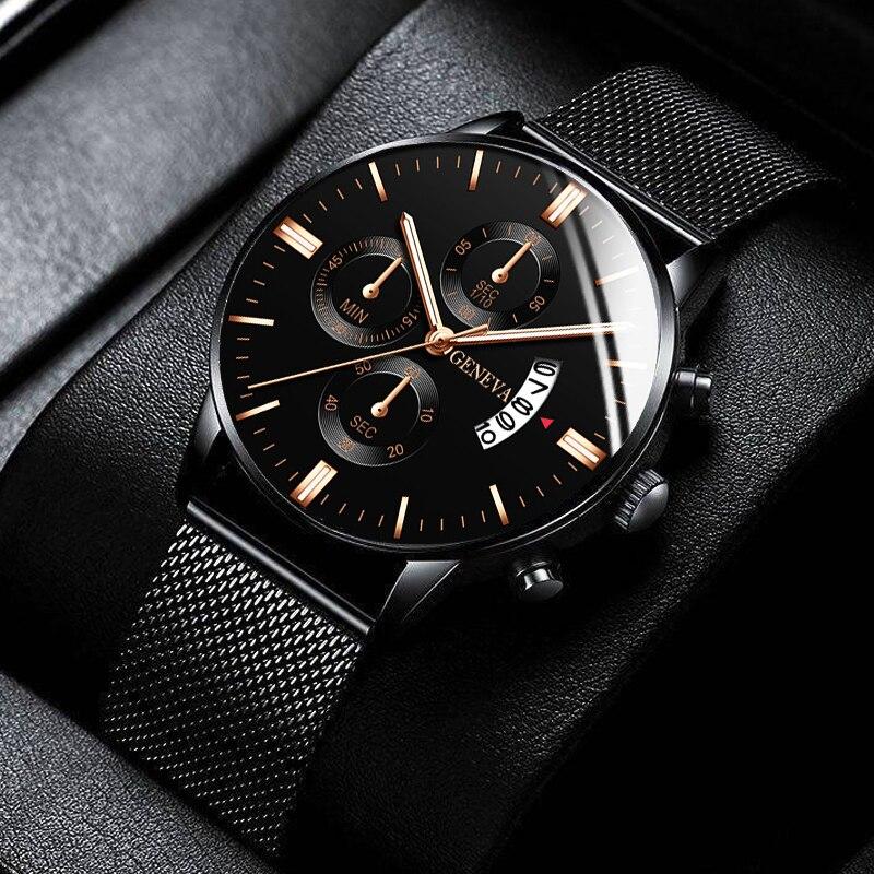 2021 Men Watches Luxury Famous Brand Men Stainless Steel Mesh Belt Calendar Watch Men Business Quart