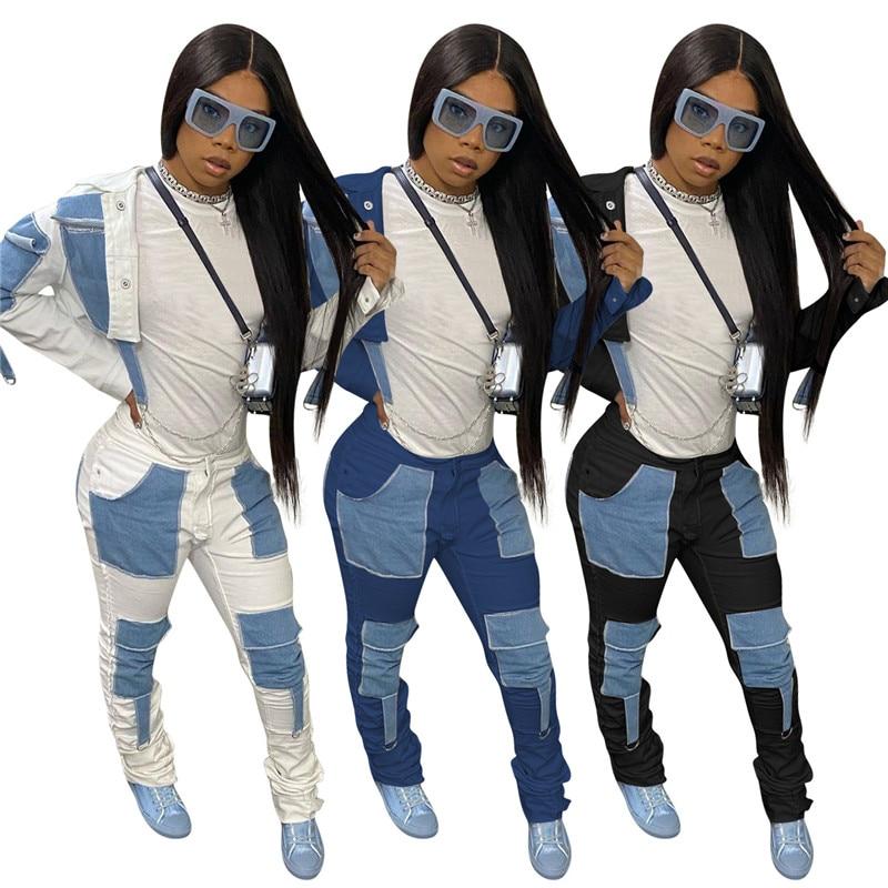 Zwei Stück Outfits Frauen Denim Passenden Set Patchwork Taschen Jacke Gestapelt Hohe Taille Jeans Cargo Hosen Großhandel Dropshipping