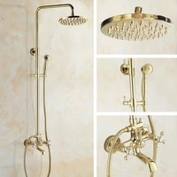 gold color brass wall mounted bathroom 8 inch round rainfall shower faucet set bath tub mixer tap hand shower mgf342