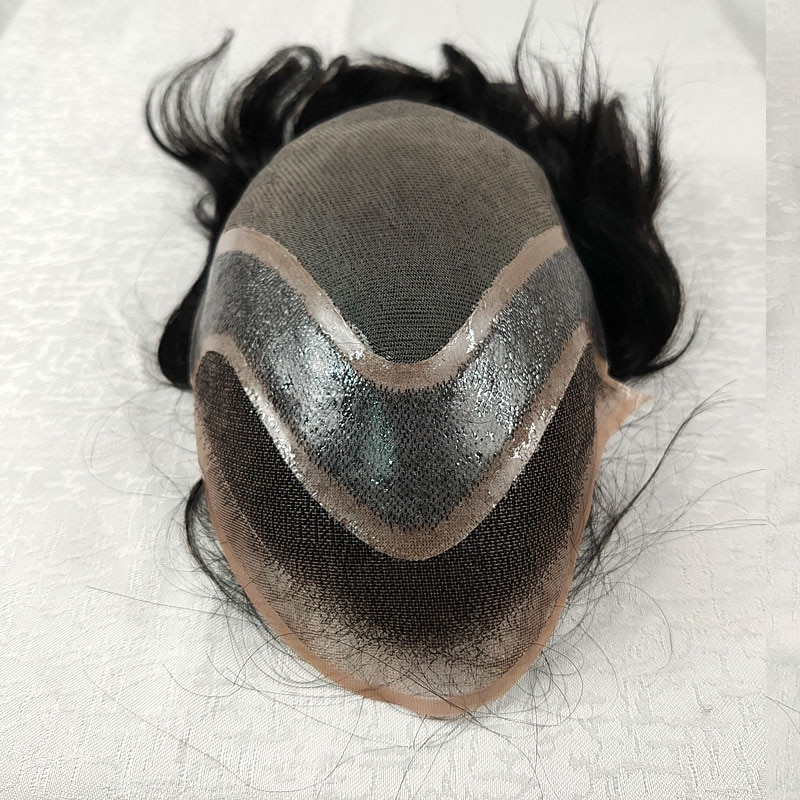 23cmx28cm men toupee Mono Lace with pu around hot selling wholesale indian men hair toupee wig prothesis