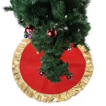 90CM Red Christmas Tree Skirt Round Carpet Golden Ruffle Edge Christmas Decoration for Home Floor Mat 2020 Xmas New Year Natal