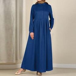 2021 kaftan muçulmano vestido primavera casual manga longa maxi bolsos vestidos abayas dubai abaya robe zanzea feminino turquia robe 5xl