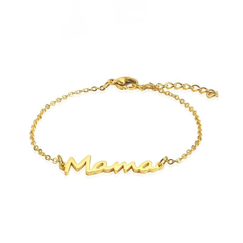 RIR Stainless Steel Mama Chain Link Bracelet Gold Mom Bracelet Mothers Day Gift New Mama Gifts