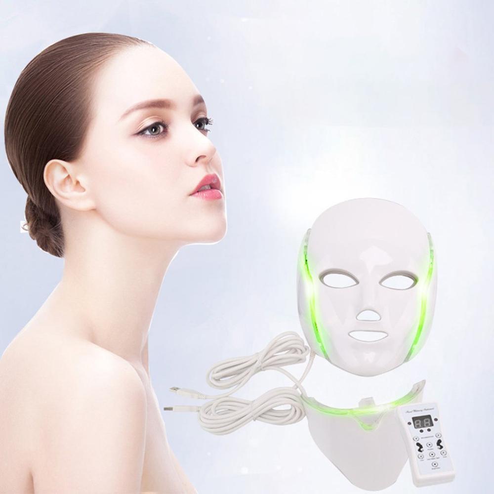 Led قناع الفوتون الكهربائية LED قناع الوجه 7 ألوان Led مع الرقبة تجديد الجلد المضادة للتجاعيد حب الشباب الفوتون العلاج