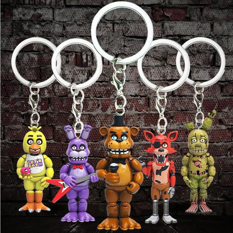 Jouets chauds cinq nuits à Freddys porte-clés figurines Anime PVC 5CM FNAF Freddy porte-clés anneau Figure jouets pour enfants modèle