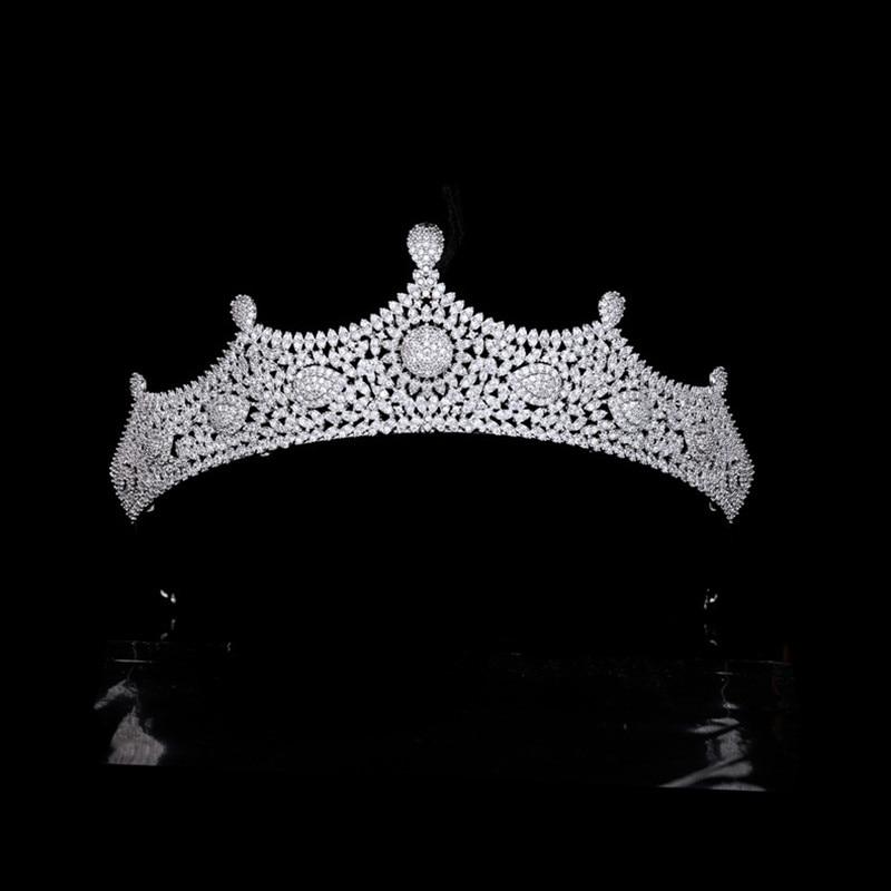 مايكرو مطعمة الزركون الزفاف تاج كامل 3A تشيكوسلوفاكيا الزفاف Tiara النساء عقال الشعر مجوهرات اكسسوارات HQ0448
