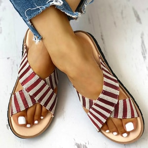 Summer Women Slipper Striped Cross Canvas Flat Heel Peep Toe Thick Soft Sole Simple Casuals Sandals Outdoor Slides Ladies Shoes
